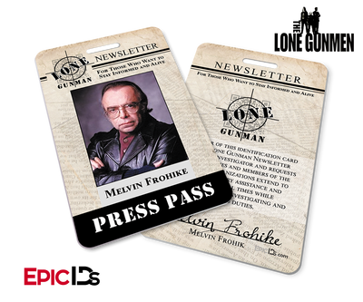 The X-Files / The Lone Gunmen Inspired Melvin Frohike TLG Newsletter Press Pass