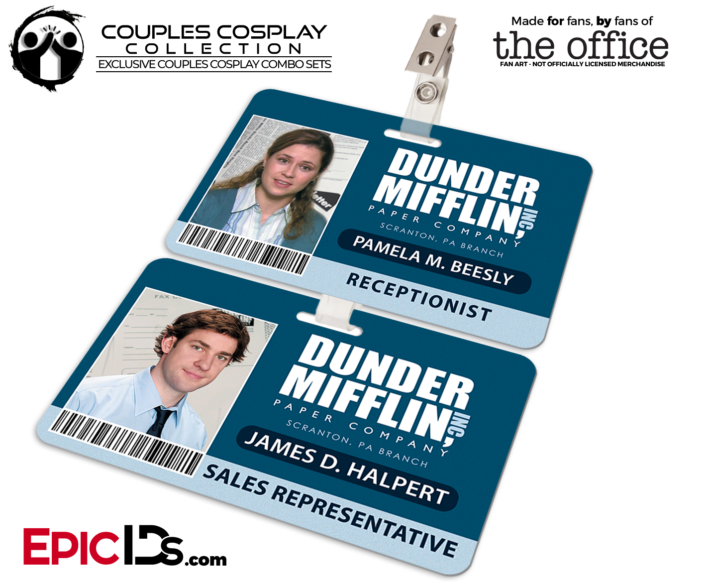 Dunder Mifflin The Office Employee ID Name Badges Couples