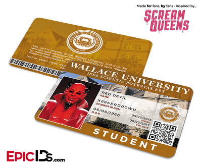 Scream Queens Inspired Wallace University Student ID - Red Devil