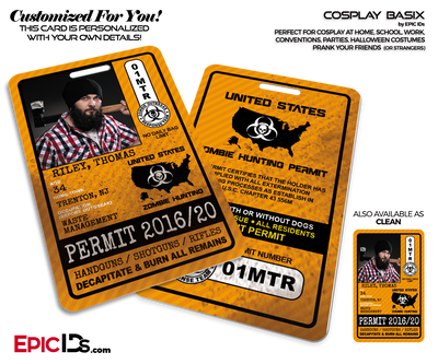 Zombie Hunting Permit - United States - Cosplay ID Badge