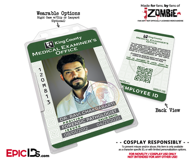 King County Medical Examiners Office 'iZombie' Cosplay Employee IDs [TV Characters]
