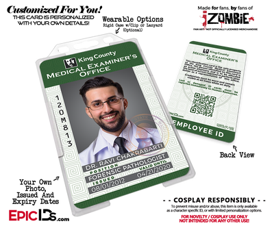 King County Medical Examiners Office 'iZombie' Cosplay Employee ID [Custom / Photo Personalized]