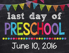 photo relating to Last Day of Preschool Sign Printable titled Chalkboard Signs and symptoms Small children Celebration Printables Invites