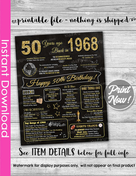50th Birthday Gift INSTANT DOWNLOAD, 50th Birthday Chalkboard Poster Sign Party Decoration PRINTABLE, Gift for Women Mom Ideas 1968 Birthday