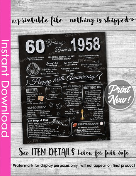 60th Anniversary Sign INSTANT DOWNLOAD 60th Wedding Anniversary Gift Chalkboard Poster Sign Party PRINTABLE 60 Years Ago Banner Diamond 1958