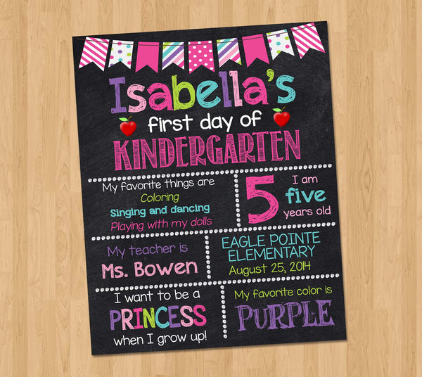 First day of school printable chalkboard sign poster Kindergarten