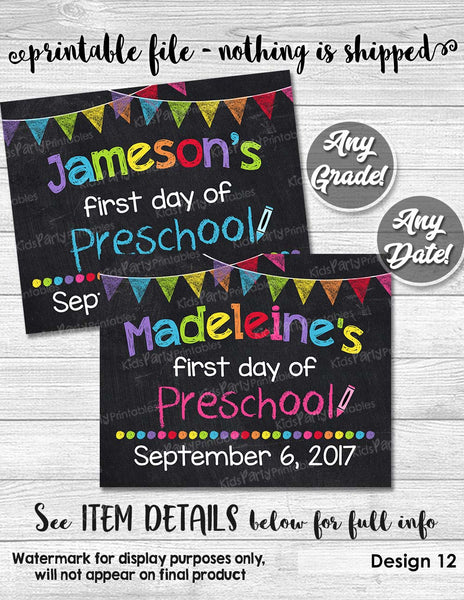 image about First Day of Pre K Sign Printable known as Initial Working day of Preschool Indicator, 1st Very first Working day of College or university Indication, Custom made 1st Working day of College or university Chalkboard Indication Printable Pre K