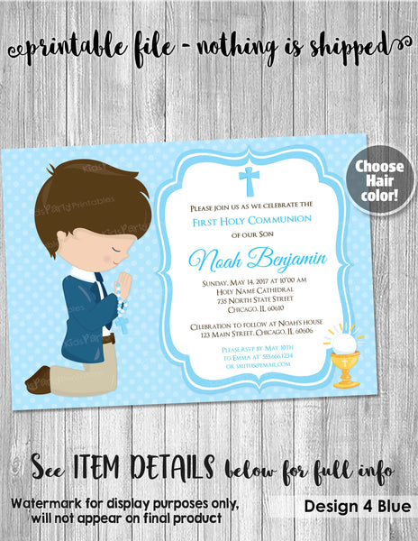 First Communion Invitation Boy, PRINTABLE Boy First Communion Invitations, Digital First Holy Communion Party Invites Blue Personalized