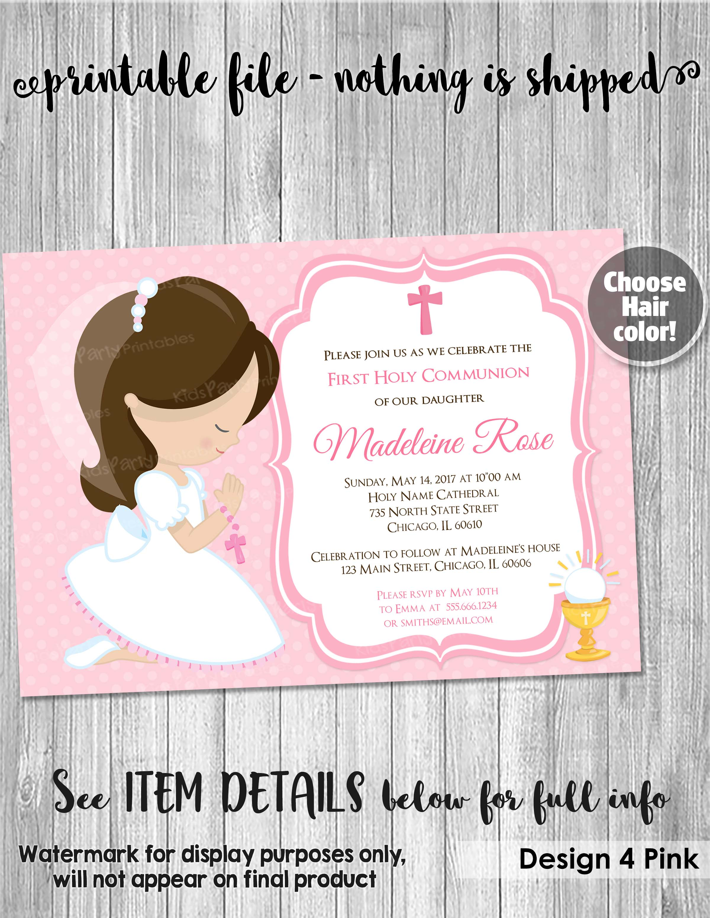 photograph relating to Printable First Communion Invitations named 1st Communion Invitation Woman, PRINTABLE Lady Initially Communion Invites, 1st Holy Communion Invitation Celebration Invitations Purple Tailored