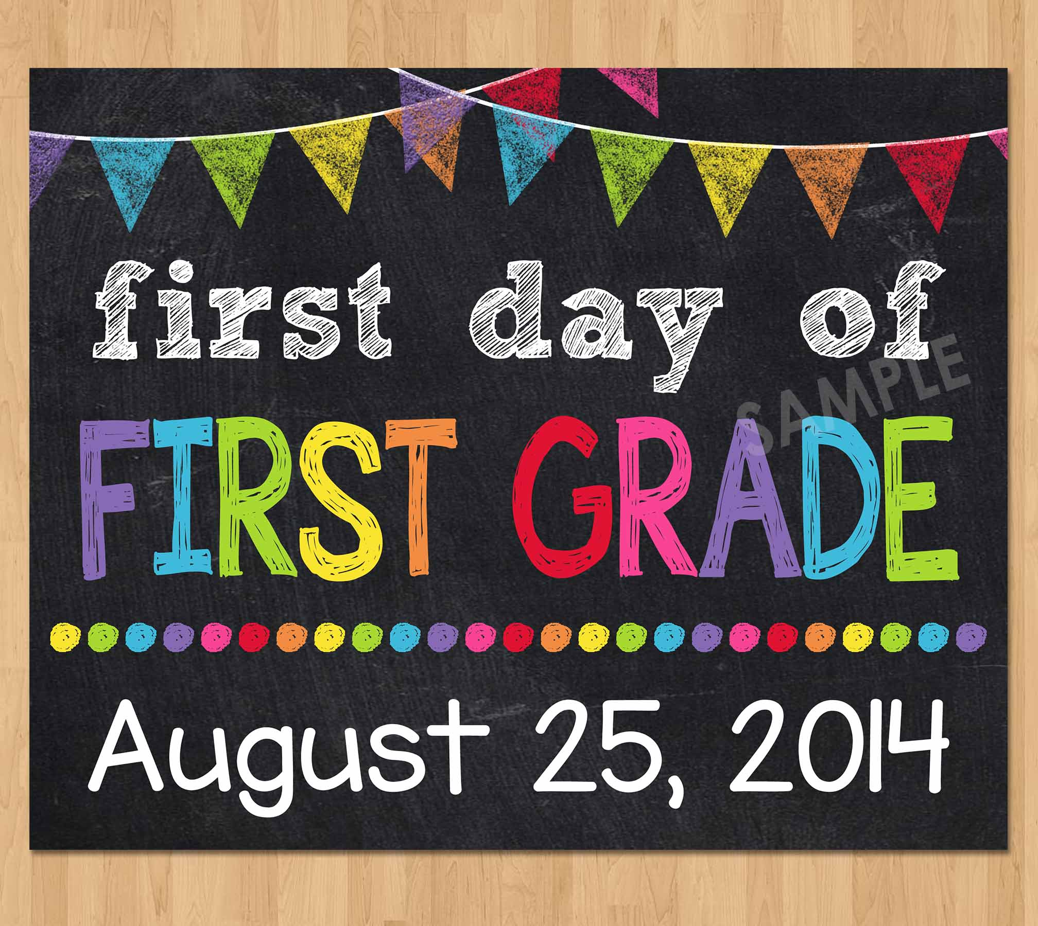picture regarding First Day of Kindergarten Sign Printable identified as 1st Working day of Initial Quality Indicator, Very first Working day of College Chalkboard Signal Printable Image Prop, ANY Dimension or Quality