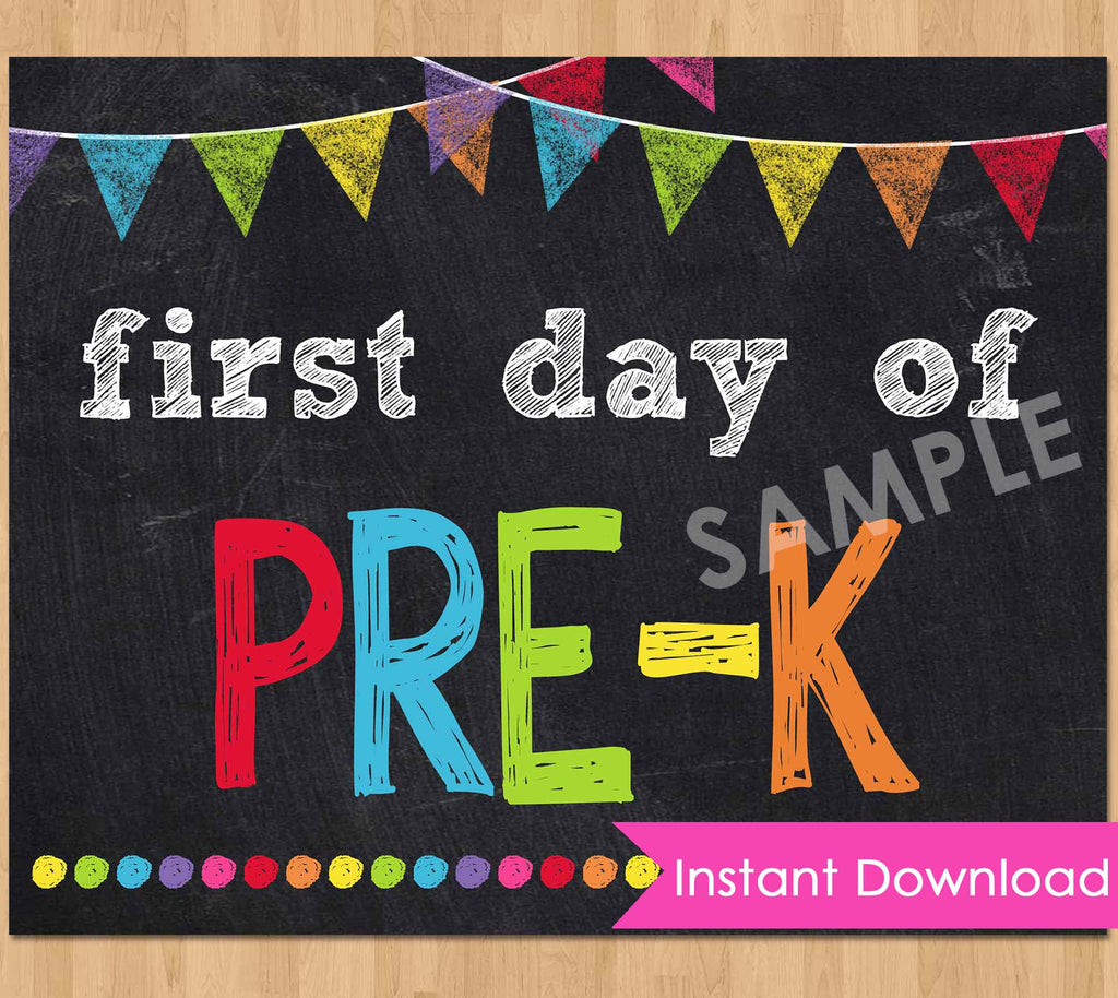 photograph regarding First Day of Pre K Sign Printable named Chalkboard Signs or symptoms Young children Celebration Printables Invites