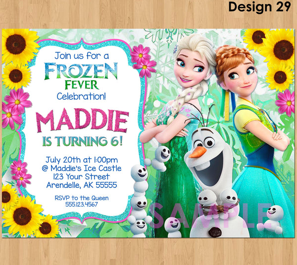 FROZEN FEVER Invitation, Frozen Summer Invitation, Frozen Fever Snowgies, Frozen Fever Birthday Invitation, Frozen Fever Invite, Olaf Elsa