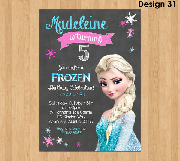 ELSA INVITATION, Frozen Chalkboard Invitation, Frozen Invitation, Frozen Party Invitation, Frozen Birthday Invite, Elsa Birthday Invitation