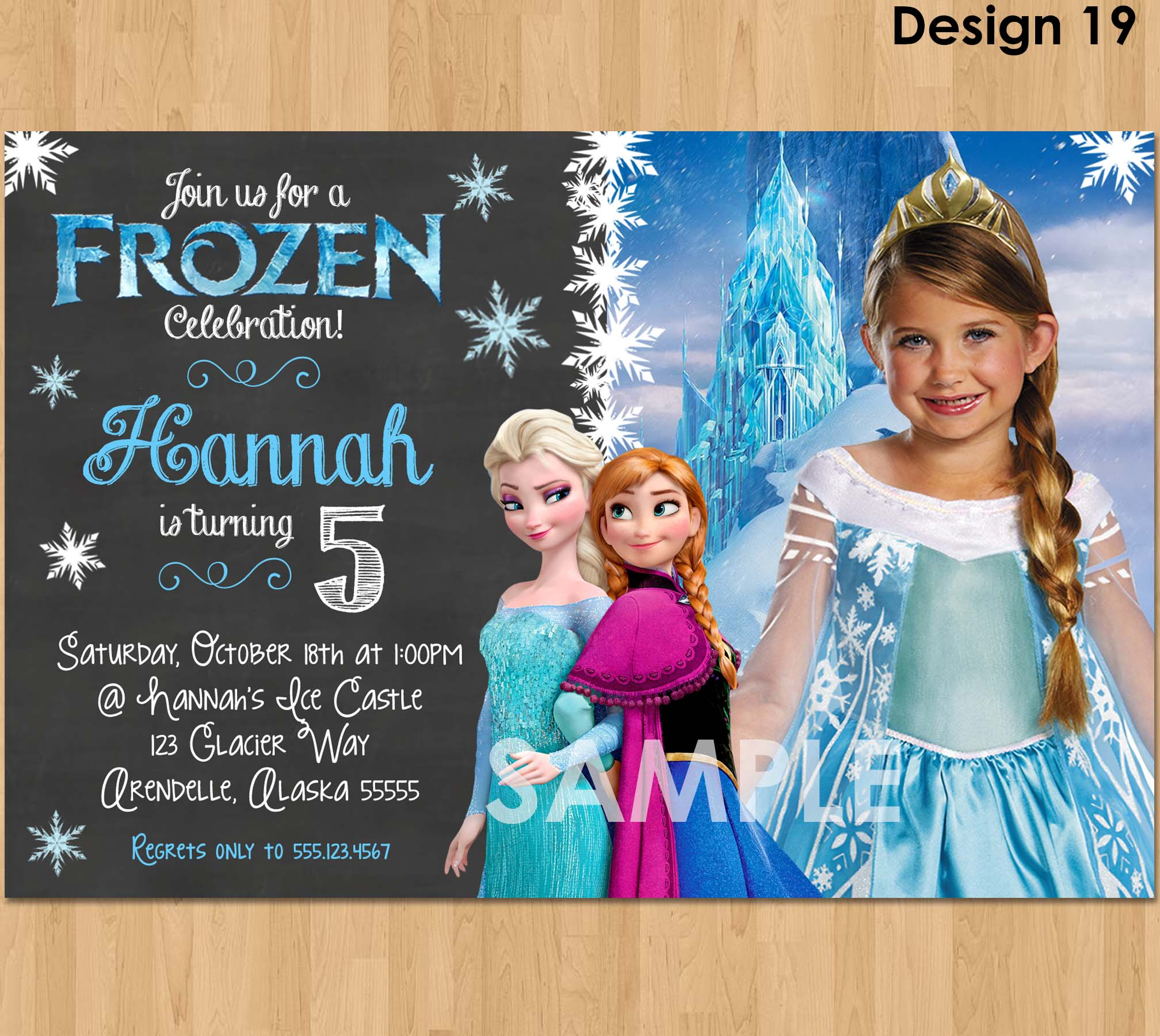 Frozen Chalkboard Invitation Frozen Photo Invitation Disney