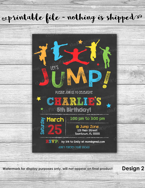 JUMP Invitation, PRINTABLE JUMP Birthday Invitation, Jump Party Invitation, Bounce House Birthday Invitation, Trampoline Invitation Boy Girl