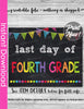Last Day of Fourth Grade INSTANT DOWNLOAD, Last Day of School Chalkboard Sign Printable Photo Prop, Last Day of Preschool Graduation 8x10 jpg