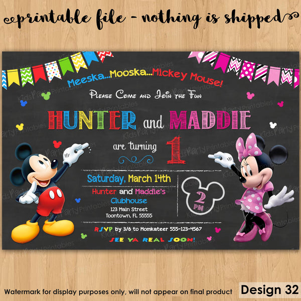 Mickey and Minnie Invitation, PRINTABLE Mickey and Minnie Birthday Invitations, Twin Birthday Invitations 1st First Chalkboard Mouse Sibling