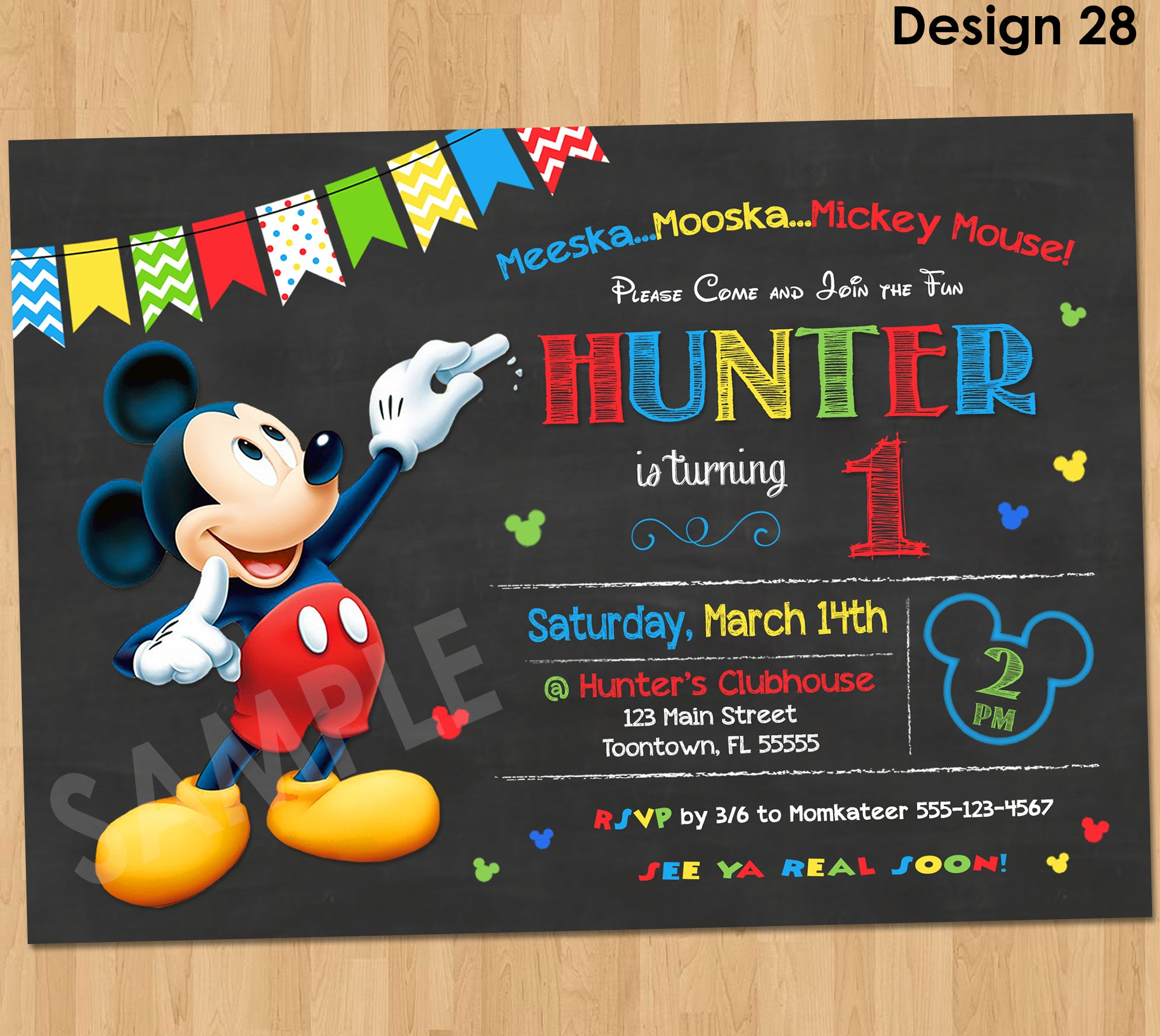 Mickey Mouse Birthday Invitation - Mickey Mouse Clubhouse ...