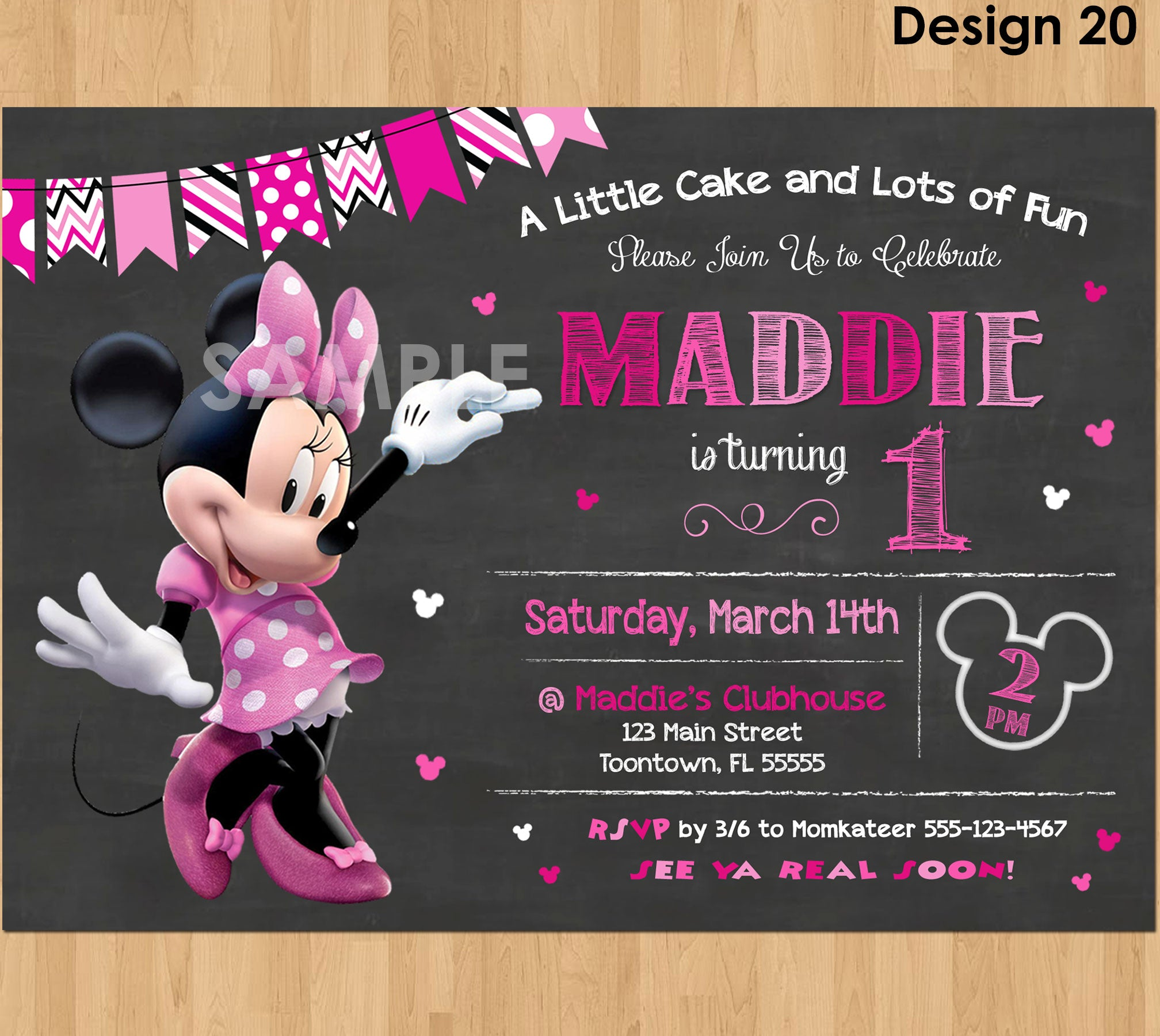 Minnie Mouse Birthday Invitation 1st First Bday Girl Pink Chalkboard Invite Party Printable