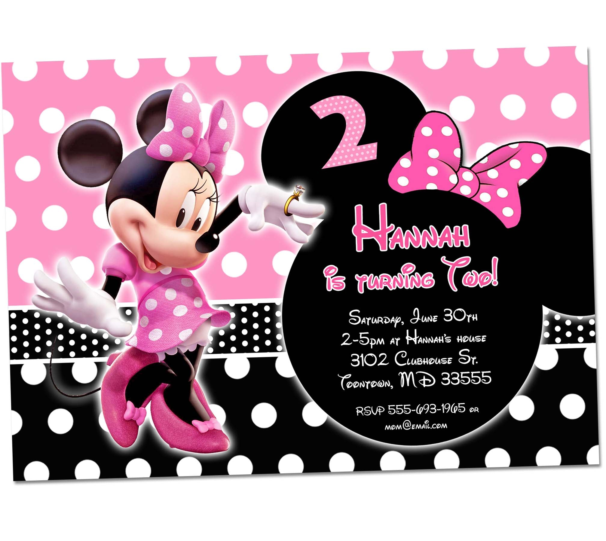 Minnie Mouse Birthday Invitation1st First Bday Girl Pink Chalkboard Invite Party Printable