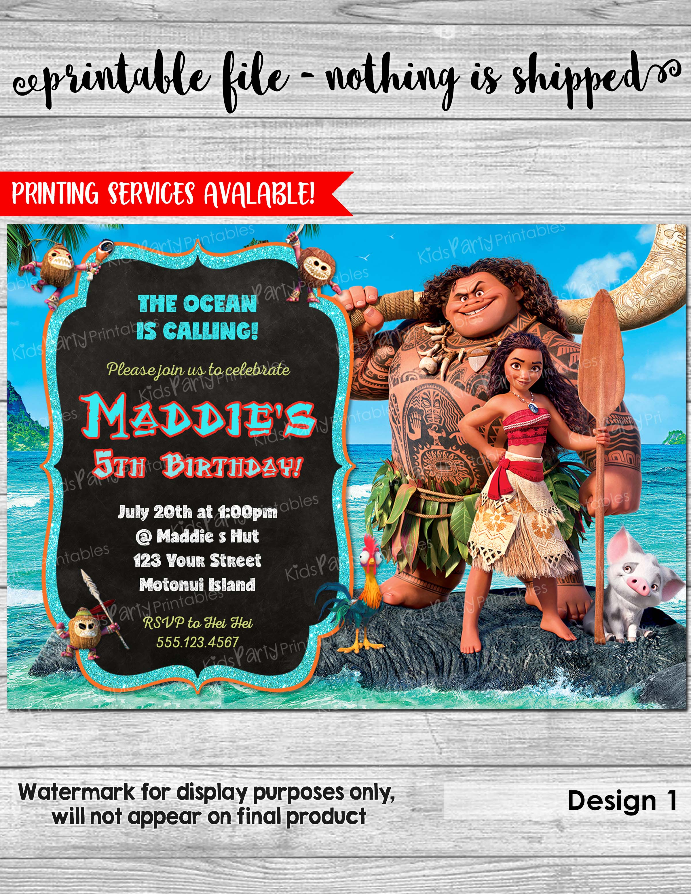 Moana Invitation Birthday PRINTABLE Party Invite Digital Pool Kakamora Pua