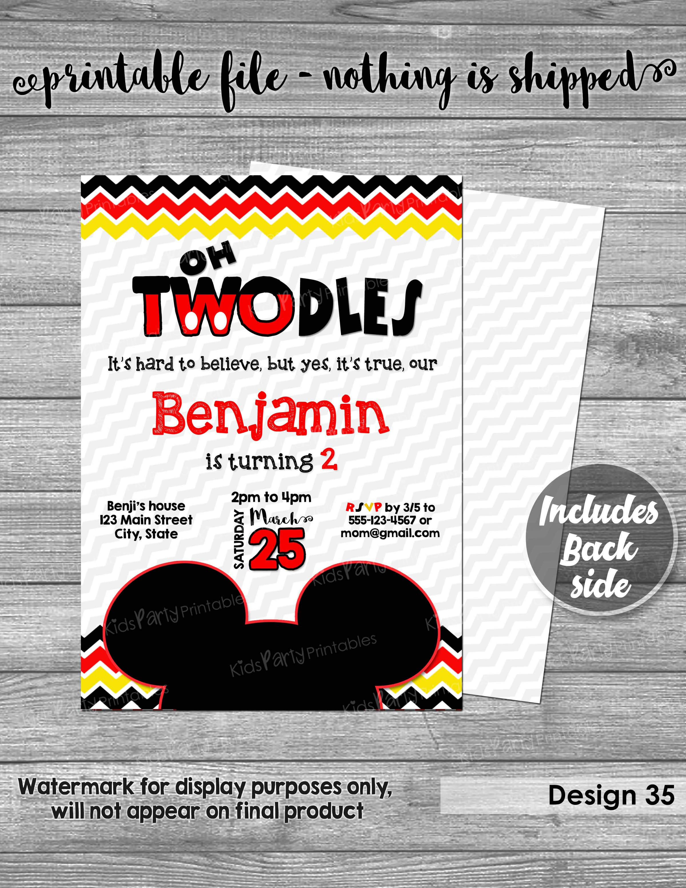 Mickey Mouse Invitation Digital PRINTABLE Oh TWOdles Birthday 2nd Red Second Boy Toodles Two Dles DIY