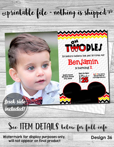 Mickey Mouse Birthday Invitation Digital PRINTABLE, Oh TWOdles Invitation with PHOTO, Mickey Mouse Invitation 2nd, Red Second Boy Toodles