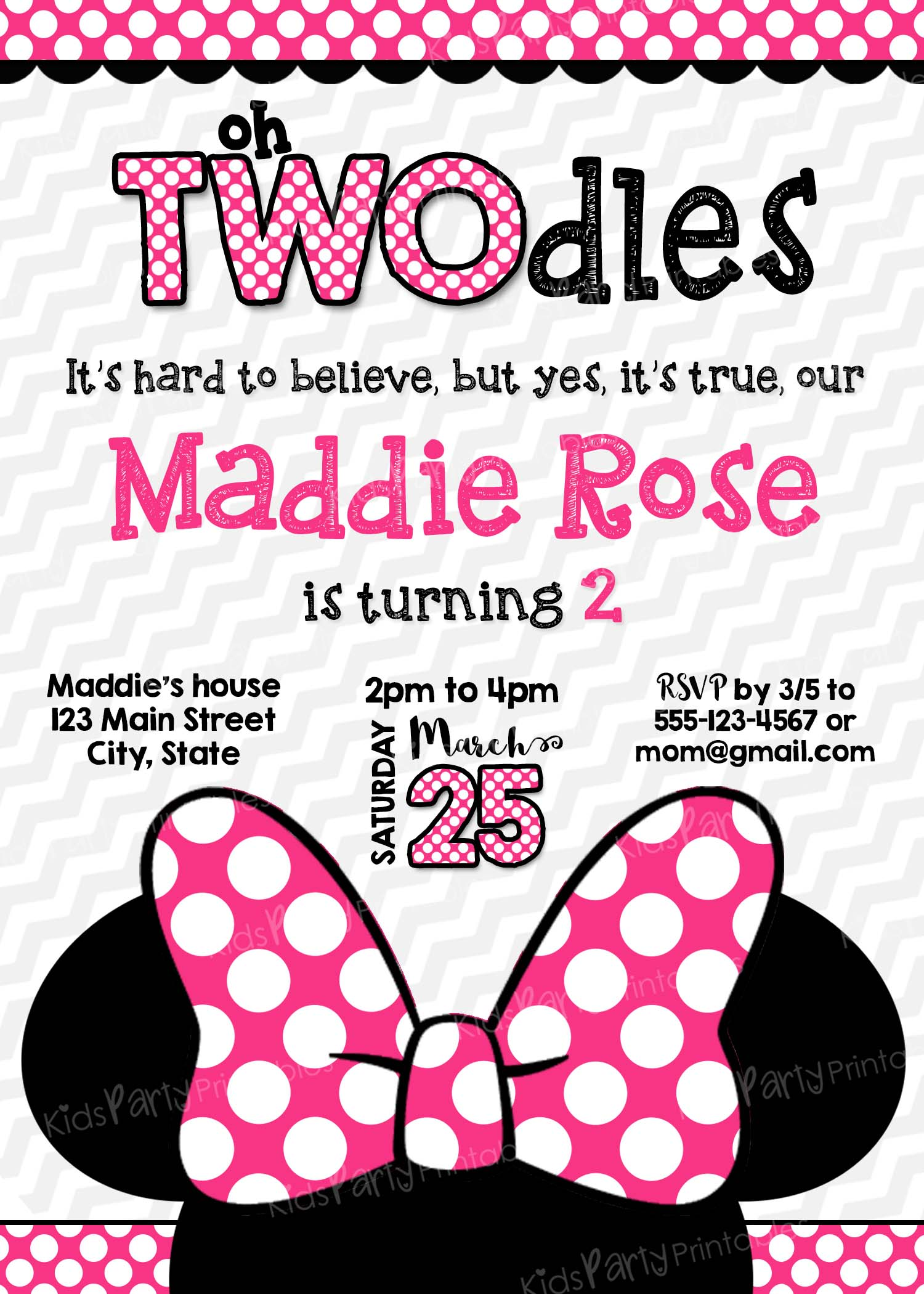 Oh Twodles Invitation PRINTABLE Minnie Mouse Birthday Toodles