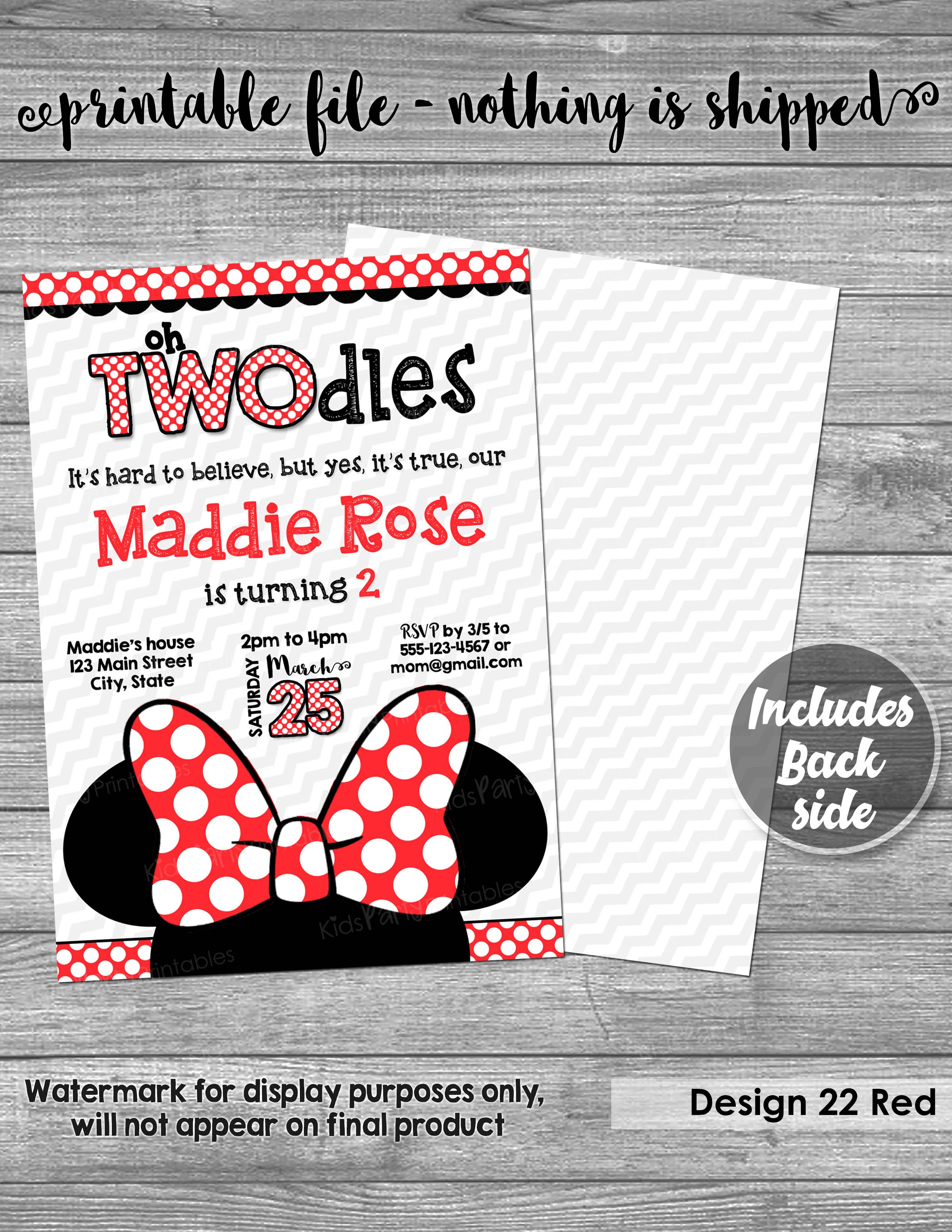 Oh Twodles Invitation PRINTABLE Minnie Mouse 2nd Birthday Red Yellow Second Girl Two Year Old Toodles Bow