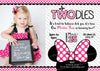 Minnie Mouse Invitation 2nd Birthday, PRINTABLE Oh TWOdles Invitation, Oh Toodles Birthday, Pink Second Girl Two Year Old Photo Bow Two Dles