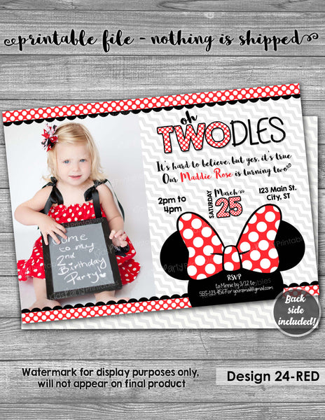Minnie Mouse Invitation 2nd Birthday, PRINTABLE Oh TWOdles Invitation, Oh Twodles Birthday, Red Yellow Second Girl Two Year Old Toodles Bow