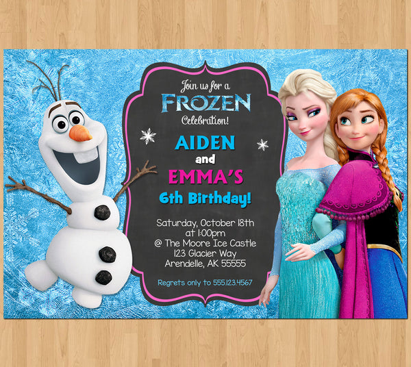 Sibling Birthday Invitation, Frozen Invitation Olaf Elsa Anna, Double Invitation Dual Twin Printable Birthday Party Digital Invite Boy Girl