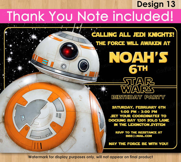 BB8 Invitation, Star Wars Invitation, PRINTABLE Star Wars The Force Awakens Invitation, Star Wars Party Invitations, Free Thank You Note
