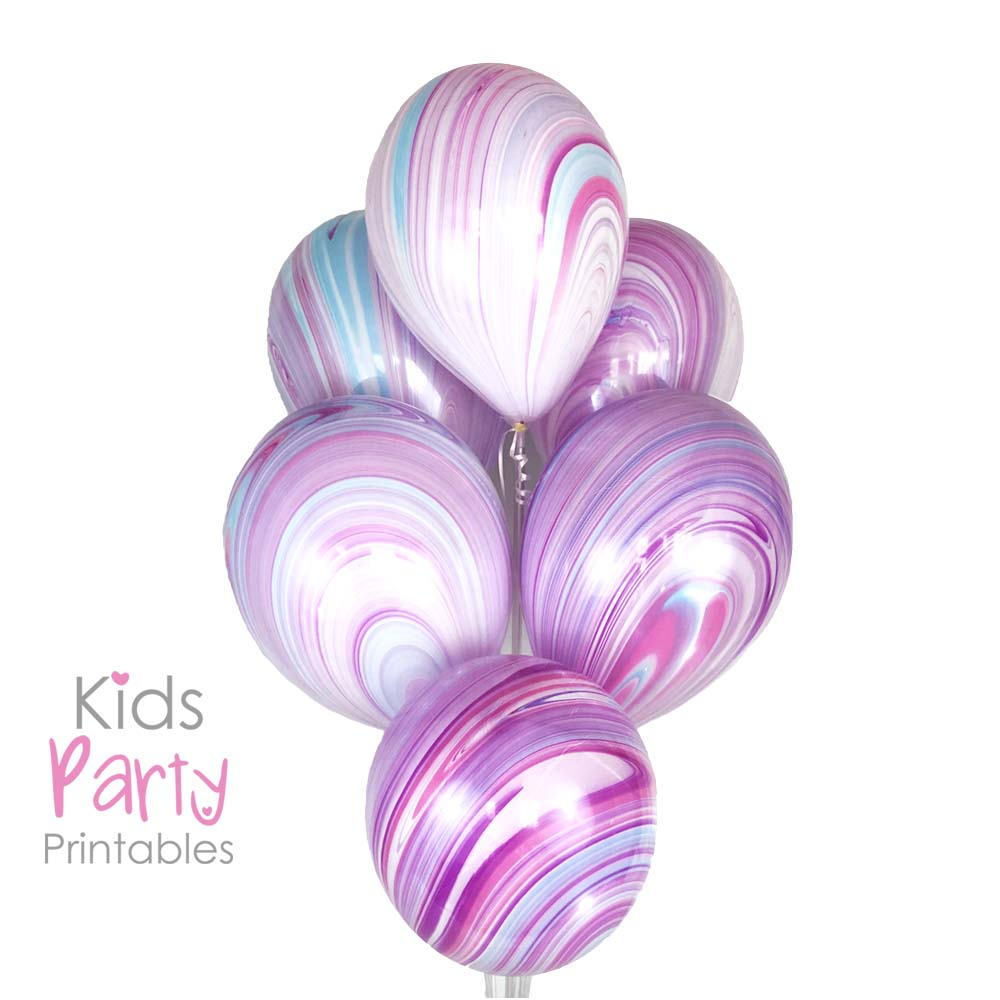 Unicorn Balloons 11 In Marble Balloon Birthday Party Supplies Decorations Mermaid Baby Shower Theme First