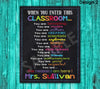 When You Enter This Classroom Sign, Classroom Rules Sign Poster Printable, Teacher Classroom Decor Door Sign Gifts Appreciation Decoration