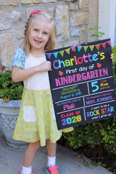 First Day of School Sign, First Day of Kindergarten Chalkboard Sign Printable Photo Prop, Personalized Back to School, ANY GRADE