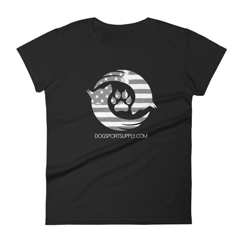 Dog Sport Supply Company - Women's Patriotic T-Shirt Grey Logo - Dog Sport Supply Company