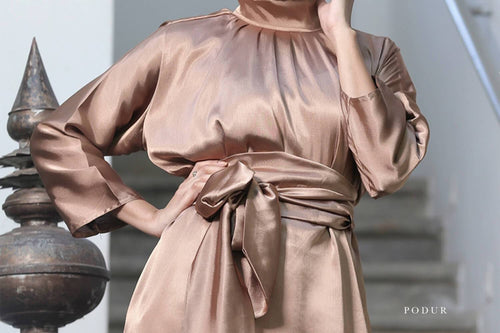 Aina bronze High Neck Tie Waist Blouse