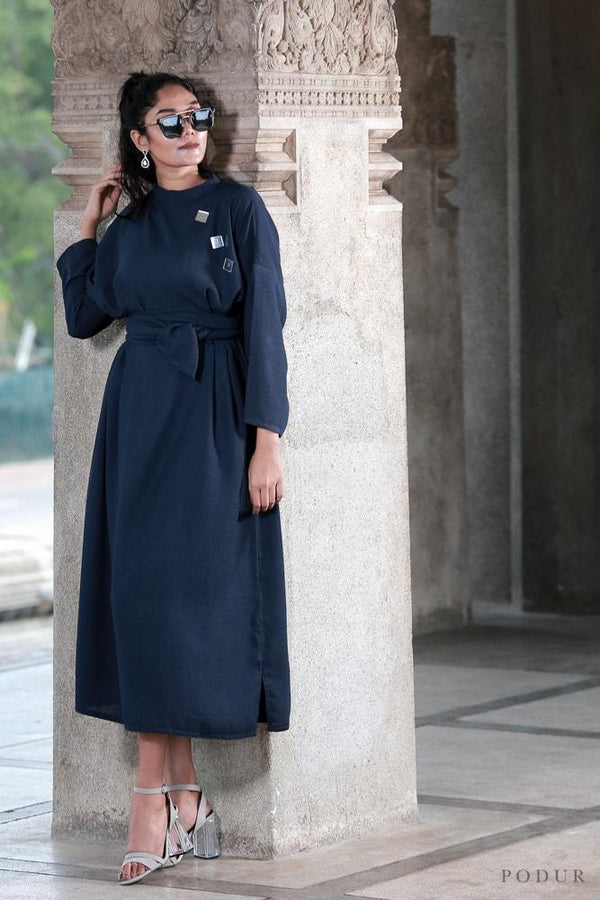 Navy blue linen midi dress