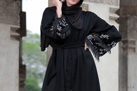 Snake Print high neck Abaya