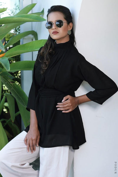 Noir High Neck Tie Waist Blouse