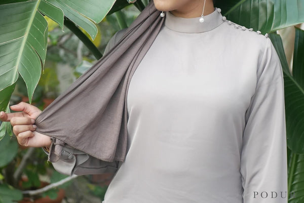Grey High Neck Top