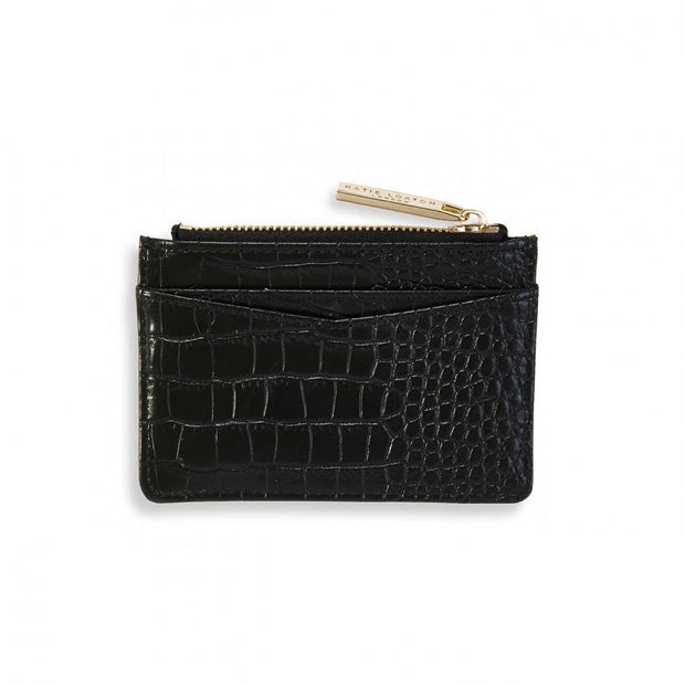 Black Faux Croc Card Holder - Love Peridot