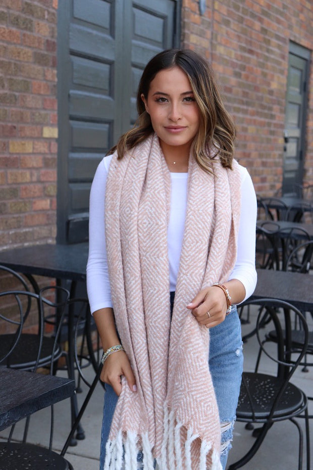 Blush and White Scarf