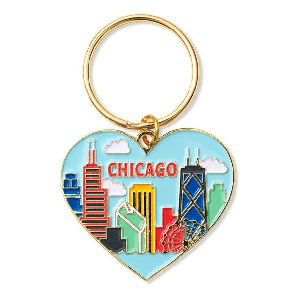 Chicago Skyline Heart Keychain - Love Peridot