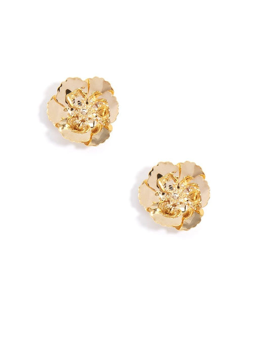 Love Peridot Gold Flower Stud Earrings