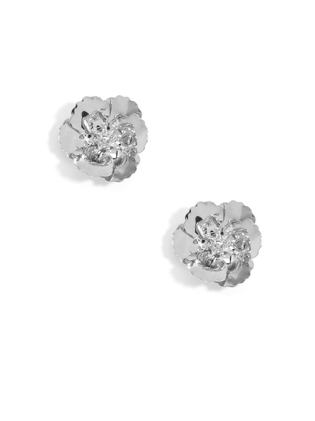 Love Peridot Silver Flower Stud Earrings