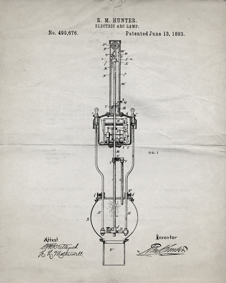Arc Lamp Patent Print - IndustrialPrints