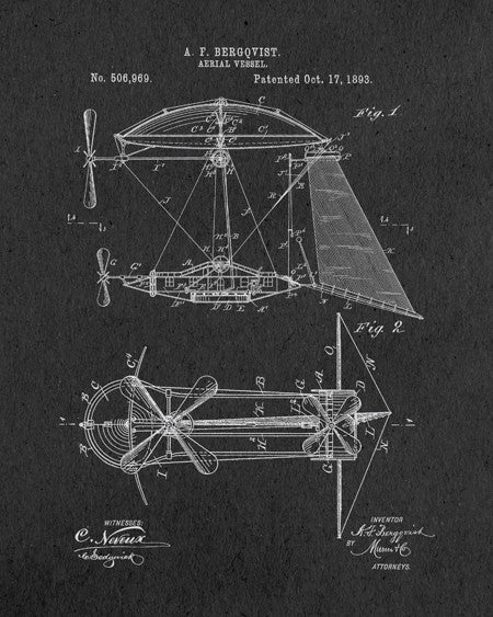 Steampunk Airship Patent Print - IndustrialPrints