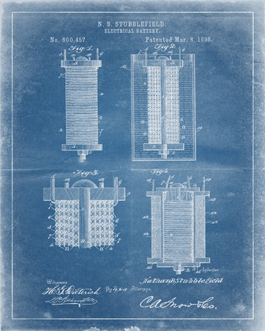 Electric Battery Patent Print - IndustrialPrints
